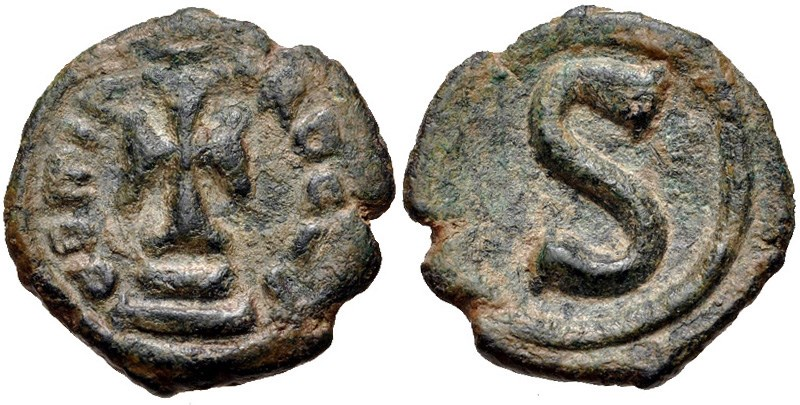 Ancient Byzantine bronze coins, 6-nummi of Heraclius. Images courtesy CNG, NGC