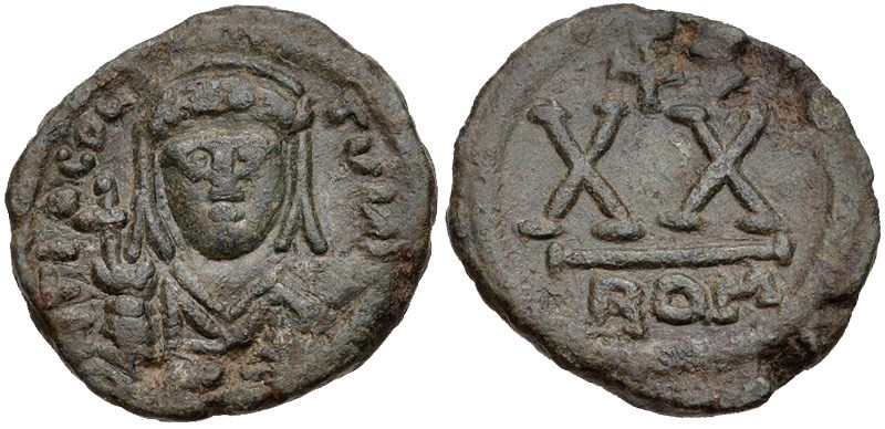 Ancient Byzantine bronze coins, 20-nummi by Tiberius II Constantine. Images courtesy CNG, NGC