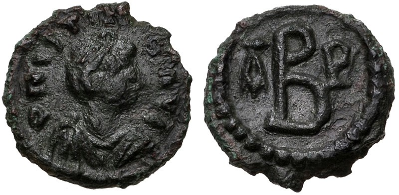Ancient Byzantine bronze coins, 2-nummi of Justinian I from Thessalonica. Images courtesy CNG, NGC
