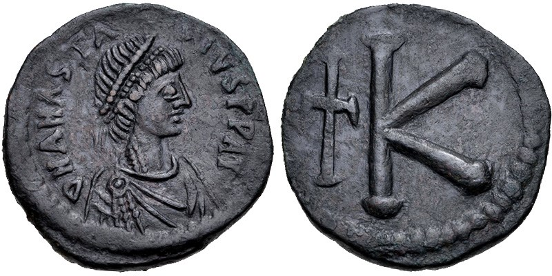 Ancient Byzantine bronze coin, 20-nummi (half-follis). Images courtesy Classical Numismatic Group, NGC