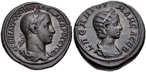 Young emperor Severus Alexander and his mother, Julia Mamaea, NGC Ancients