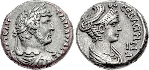 Billon tetradrachm of Hadrian and his wife Sabina, NGC Ancients