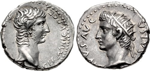 Drachm bearing portraits of Germanicus and Augustus. Images courtesy NGC Ancients