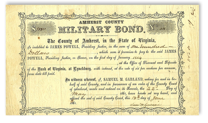 Amherst, Virginia Military Bond Civil War Bonds