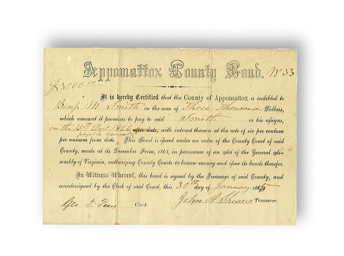 Appomattox County Virginia Civil War Bond