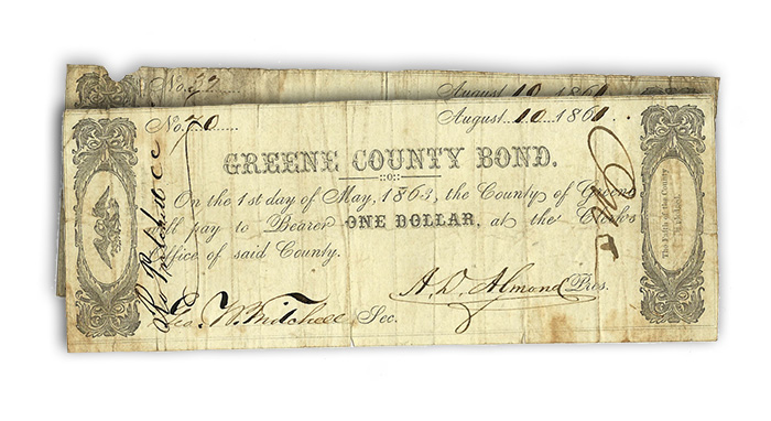 Greene County, Virginia Civil War Bond