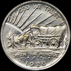 Reverse, counterfeit 1926 Oregon Trail commemorative half dollar. Image courtesy NGC