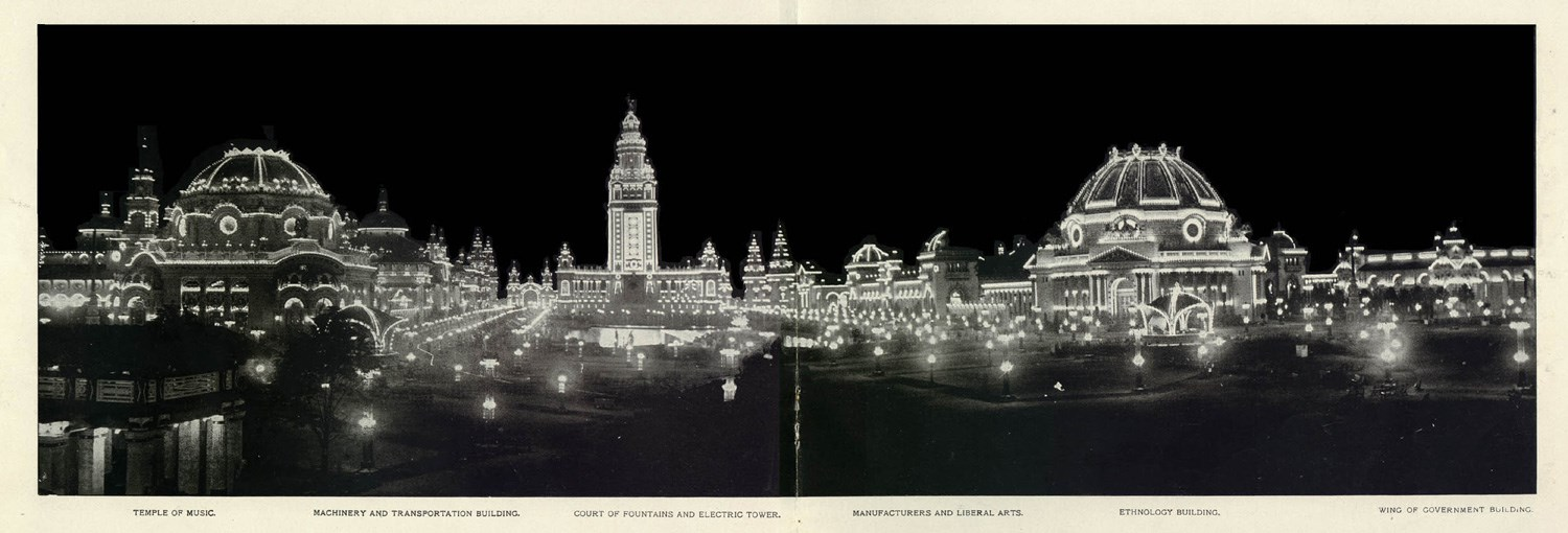 A photograph of the Exposition at night. The three most prominent buildings in view are the Temple of Music, The Electrical Tower, and the Ethnology building.