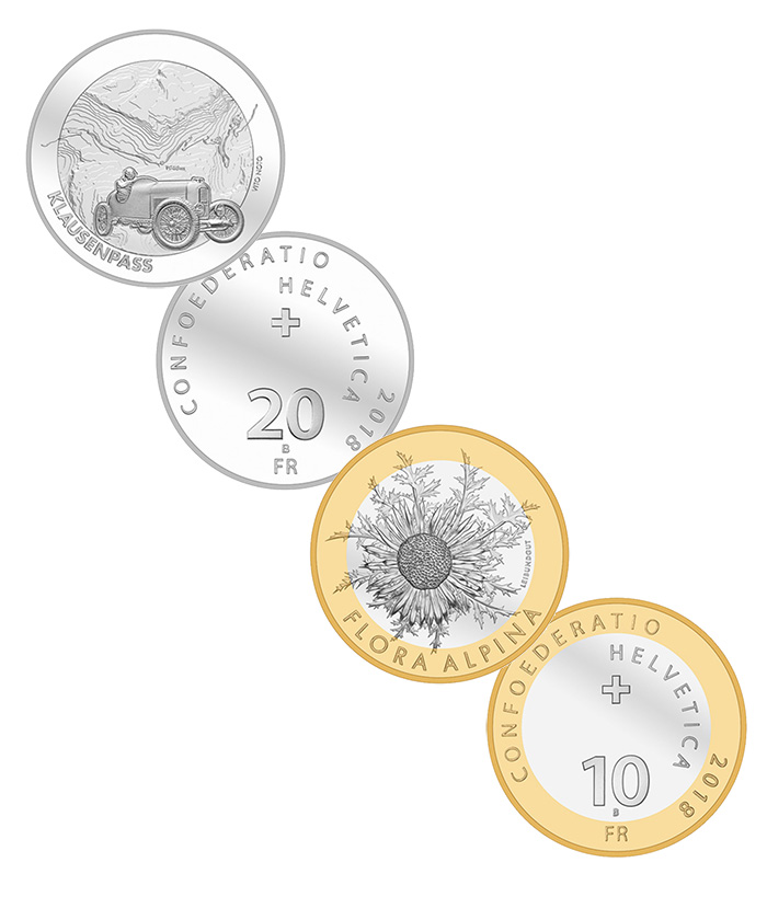 Swiss 2018 Commemorative Coins - Flora Alpina + Klausenpass - World Coins