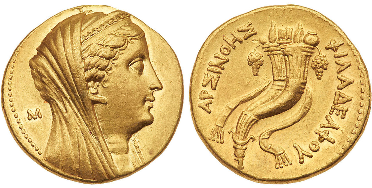 Atlas Numismatics - GREEK. PTOLEMAIC KINGS OF EGYPT. Arsinoe II Philadelphos. (Wife of Ptolemy II, died 270/268 BCE). Images courtesy Atlas Numismatics