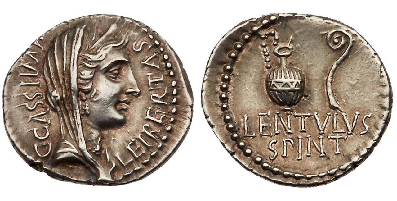 ROMAN IMPERATORIAL. C. Cassius Longinus. (Senator, died 42 BCE). Images courtesy Atlas Numismatics