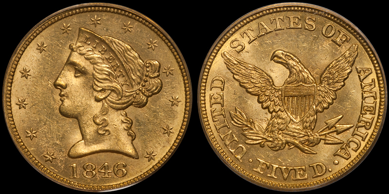 1846 LARGE DATE $5.00 PCGS MS62 CAC. Images courtesy Doug Winter
