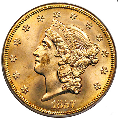 1857-S SS Central America $20 Double Eagle