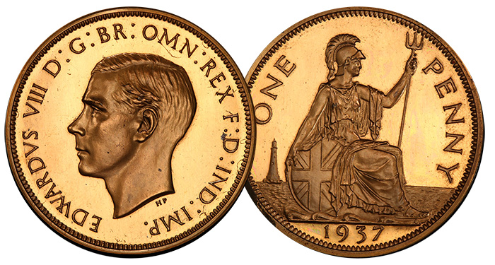 1937 Edward VIII set in gold, silver and bronze - Tyrant Collection
