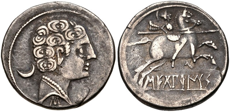A denarius from Sekobirikes. Images courtesy CNG, NGC