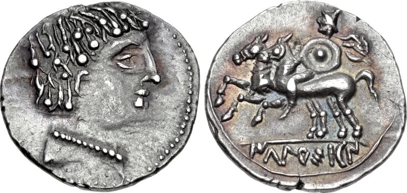 A denarius from Ikalesken. Images courtesy CNG, NGC