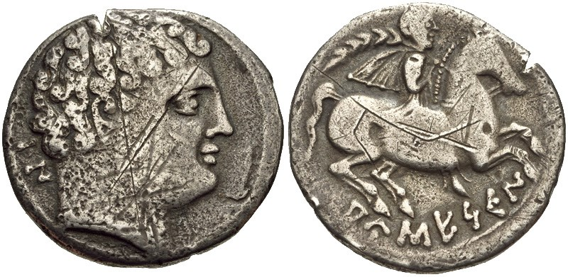 A denarius of Ausesken. Images courtesy CNG, NGC