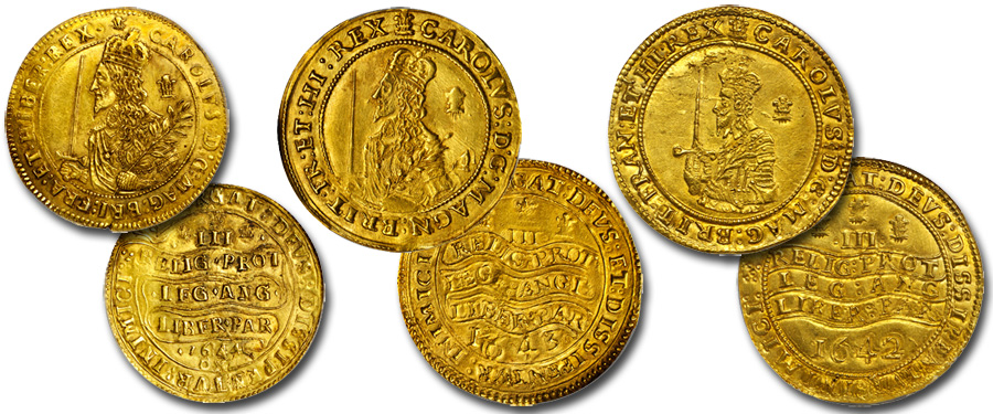 British Gold Triple Unites of Charles I. Images courtesy Stack's Bowers Galleries Ponterio