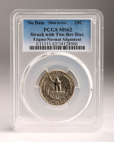 PCGS Double-Tailed Quarter dollar Error