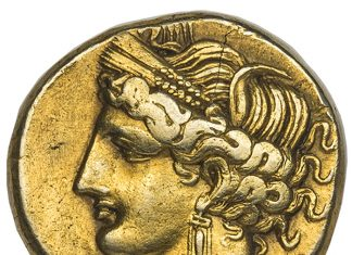 Goddess Tanit on Carthaginian Gold & Silver 1 1/2 Shekel. Image courtesy Atlas Numismatics
