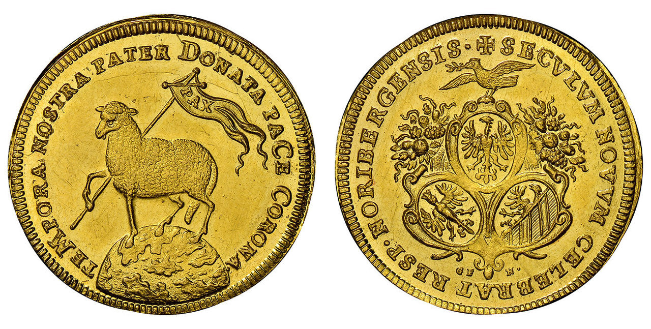 GERMAN STATES. Nurnberg. MDCC (1700) GFN AV 2 Ducat. Images courtesy Atlas Numismatics