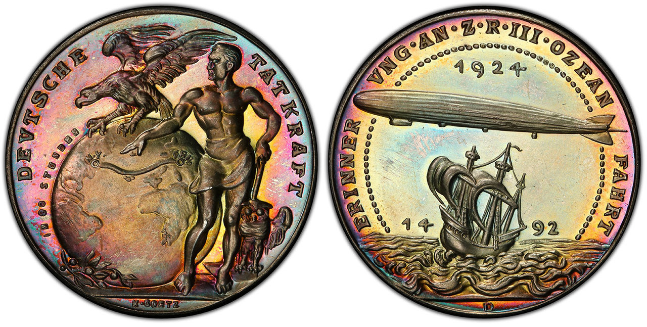 GERMANY, WEIMAR REPUBLIC. 1924 AR Medal. PCGS SP65. By Karl Goetz. Images courtesy Atlas Numismatics
