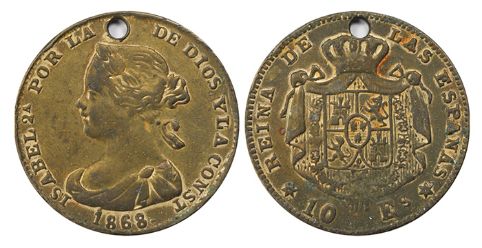 Contemporary Counterfeit in brass (thin gold layer worn off): 10 escudos dated 1868 missing inscribed date in stars on reverse - courtesy Aurora Rarities LLC