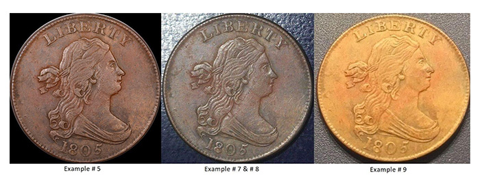 1805 Struck Counterfeit - Same toning and general appearance but different photographers!
