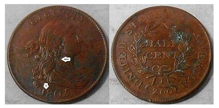 1805 Half Cent Struck Counterfeit Example 2
