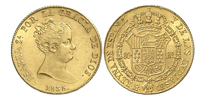 Authentic gold 80 reales dated 1835, Madrid mint 80R-1835M-CR - courtesy Aureo & Calicó
