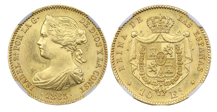 Authentic gold 10 escudos dated 1865, Madrid mint 10E-1865M - courtesy Aurora Rarities LLC