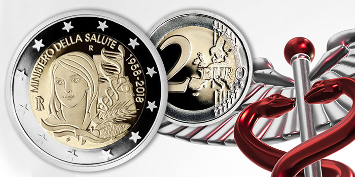 Italian Ministry of Health 2 Euro Coin