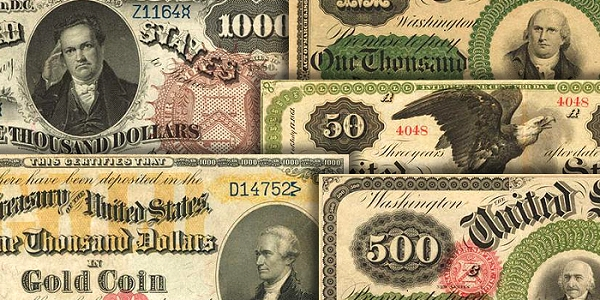 A collage of some of the most important paper money issues in the U.S. series.