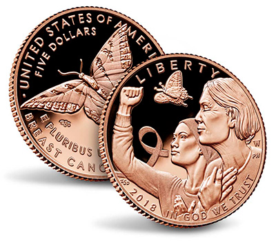 2018 Breast Cancer $5 Rose Gold Coin - U.S. Mint