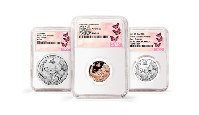 2018 Breast Cancer Awareness Coins in NGC's special White Holder