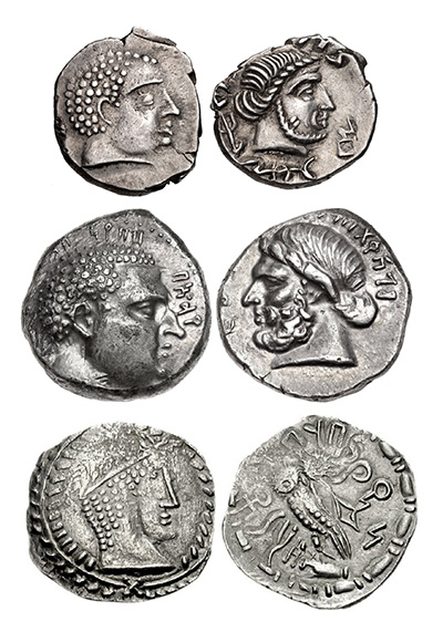 Trio of Qataban Coins in Silver - Ancient Yemen Coins