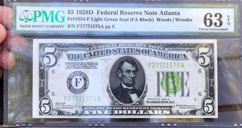 Stolen $5 Federal Reserve Note, PMG Certified - NCIC