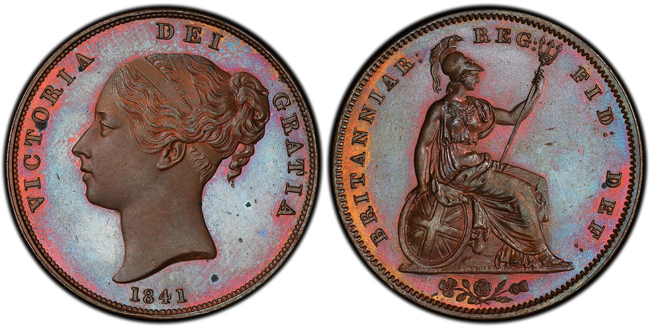 GREAT BRITAIN. Victoria. 1841 CU Penny. Images courtesy Atlas Numismatics