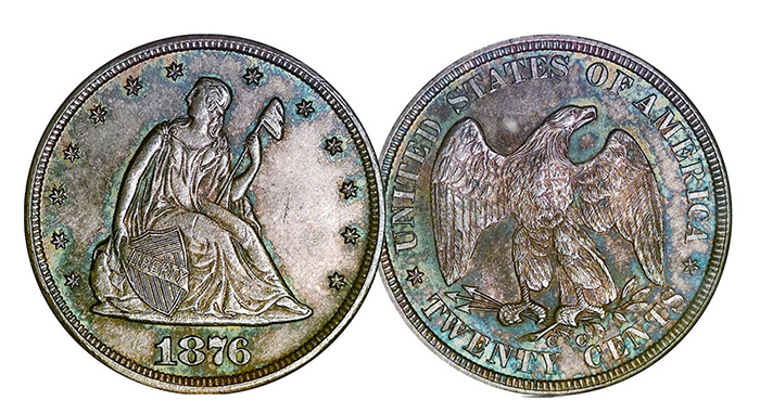 A genuine 1876-CC 20 Cent Piece. Note the doubling of the word LIBERTY in the shield.