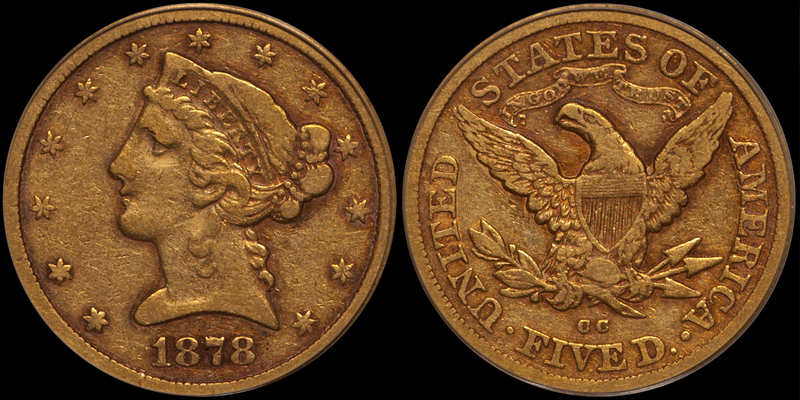 1878-CC $5.00 PCGS VF25 CAC. Images courtesy Doug Winter Numismatics