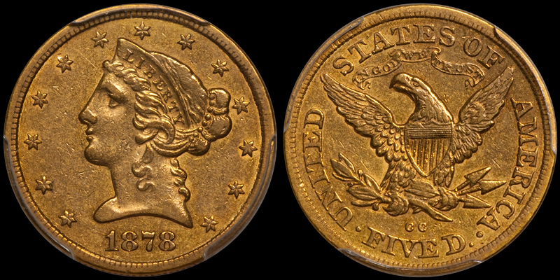 1878-CC $5.00 PCGS EF40. Images courtesy Douglas Winter Numismatics