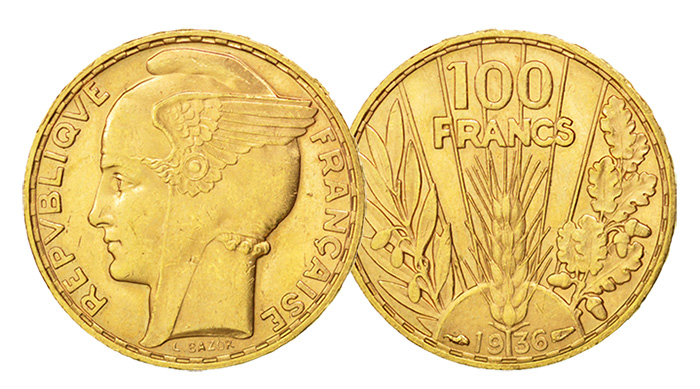 France 1936 100 Francs Gold Coin