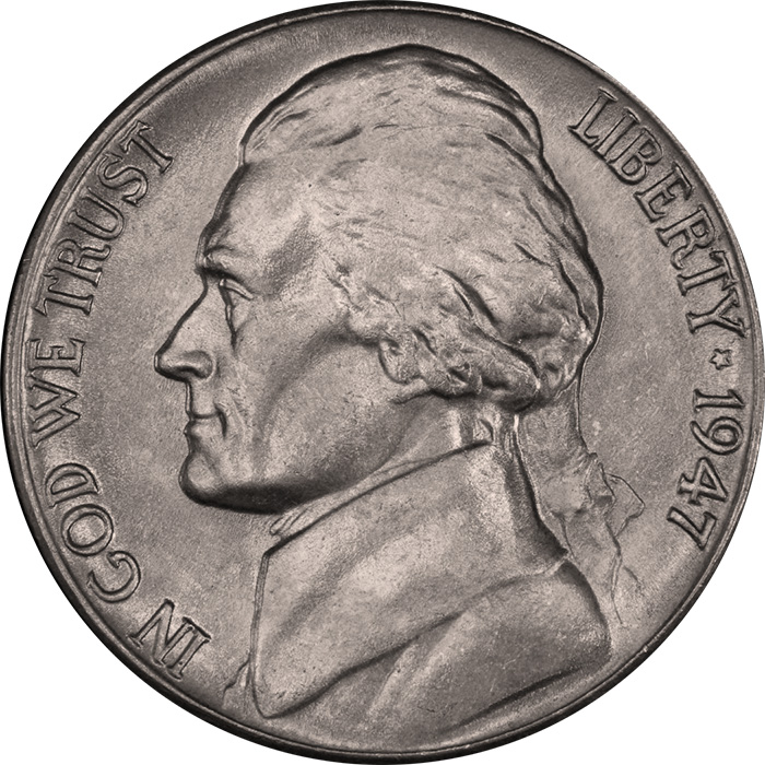 1947-D Jefferson nickel obverse