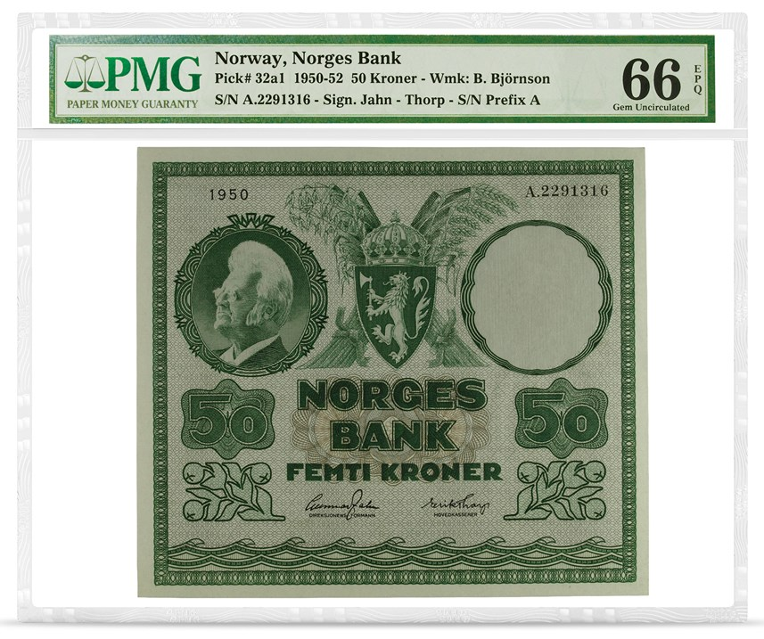 Norway, Norges Bank, Pick# 32a1, 1950-52, 50 Kroner, front PMG graded 66 Gem Uncirculated EPQ - PMG Nobel Prize