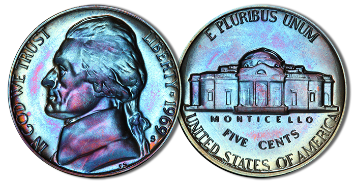 Beautiful toning on a 1969-S Jefferson Nickel. Many Jefferson nickels from this period develop a majestic blue and purple hue. Image credit: PCGS
