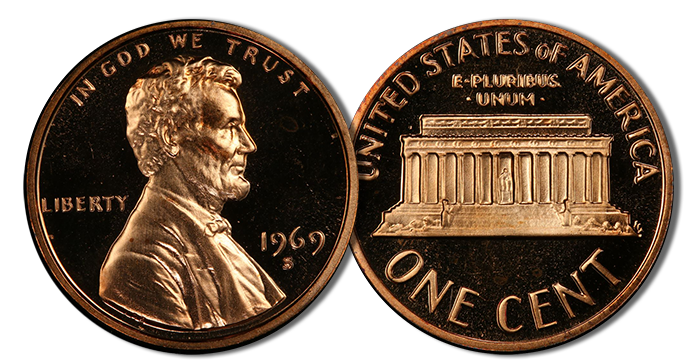 PCGS Gives A Value Of 13 To 30 For 1969 S Lincoln Cent In Brilliant Red Depending On Grade The Current Graded Population Figures At Service