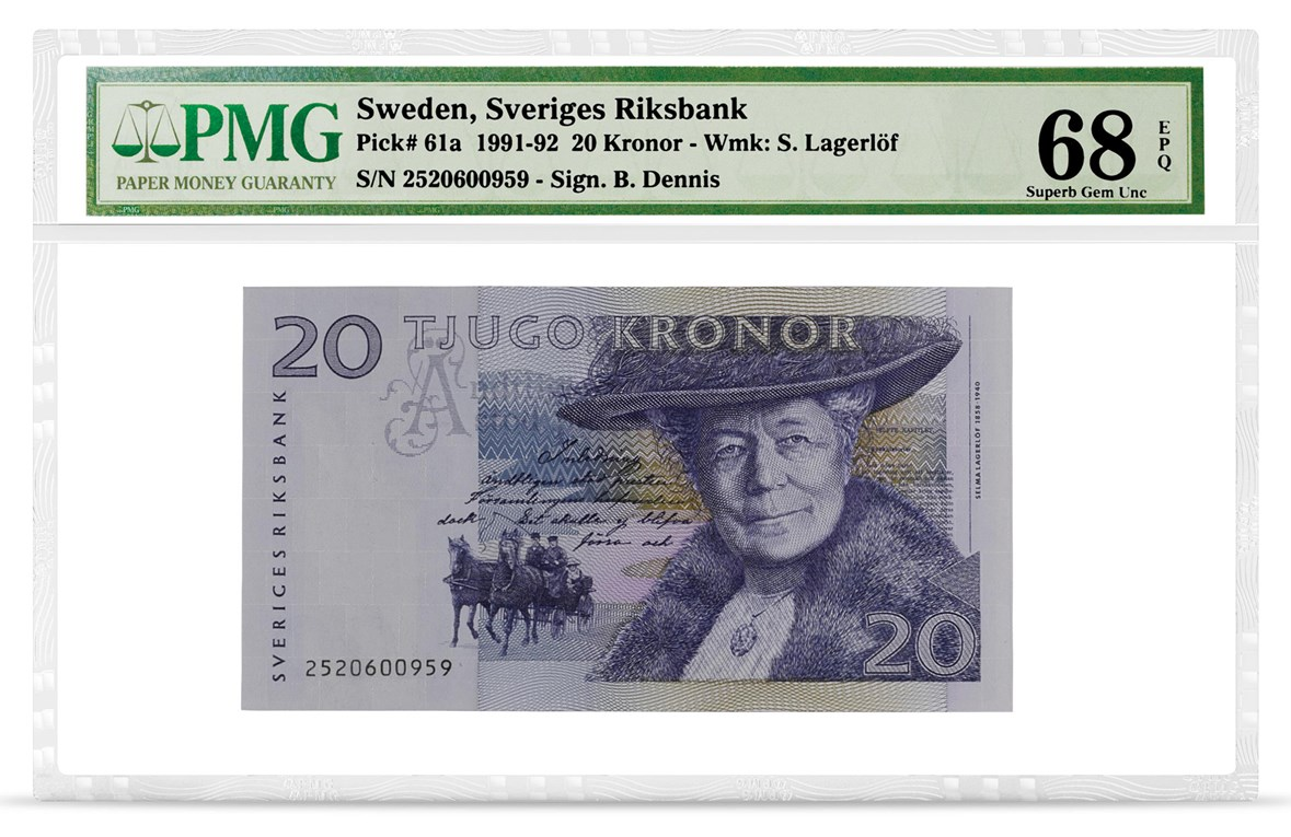 Sweden, Sveriges Riksbank, Pick# 61a, 1991-92, 20 Kronor, front PMG graded 68 Superb Gem Uncirculated EPQ