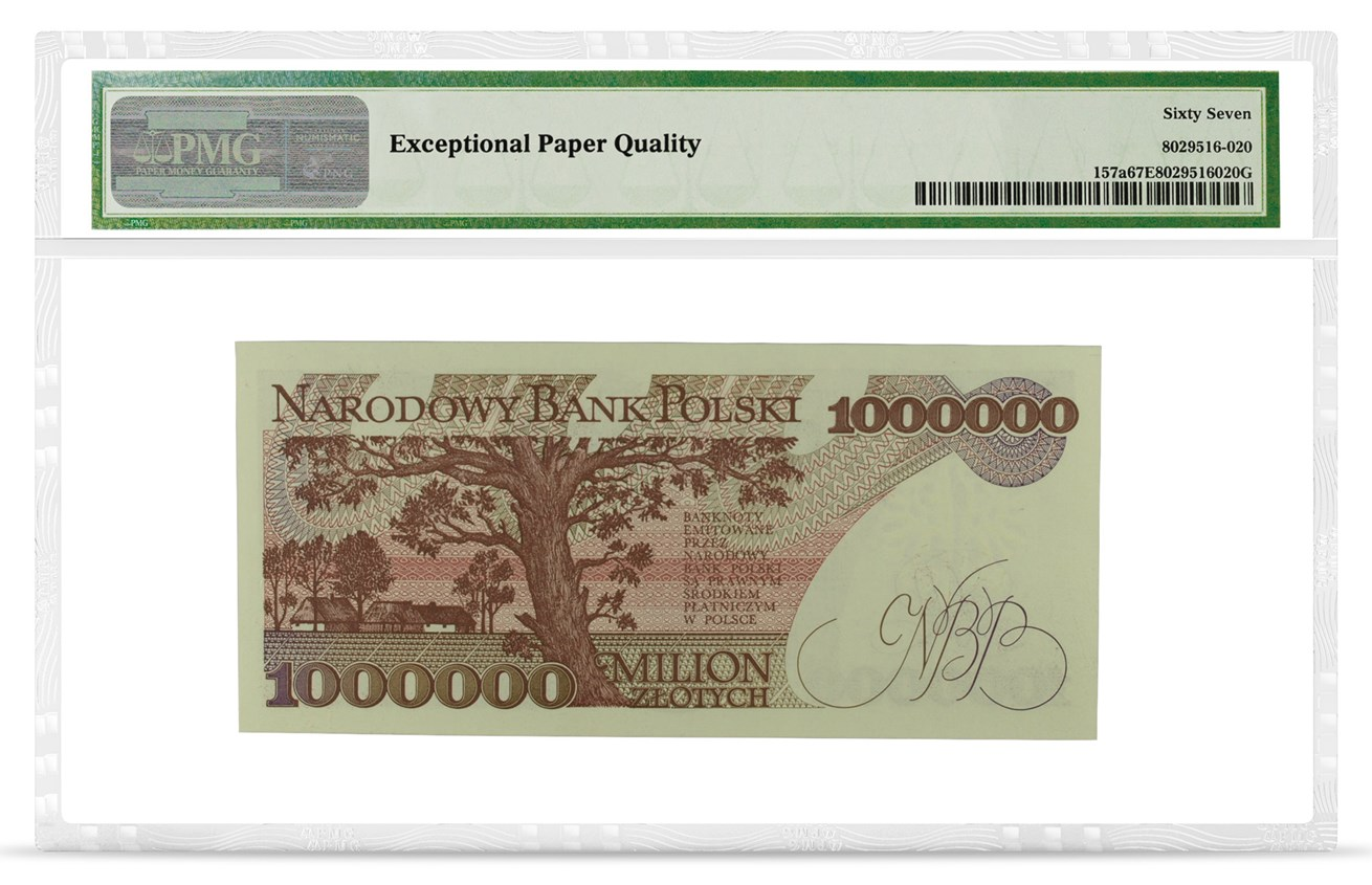 Poland, National Bank, Pick# 157a, 1991, 1,000,000 Zlotych, back PMG graded 67 Superb Gem Uncirculated EPQ