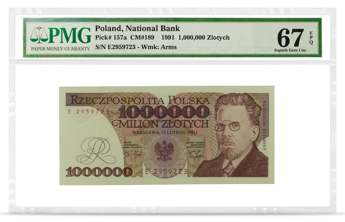 Poland, National Bank, Pick# 157a, 1991, 1,000,000 Zlotych, front PMG graded 67 Superb Gem Uncirculated EPQ