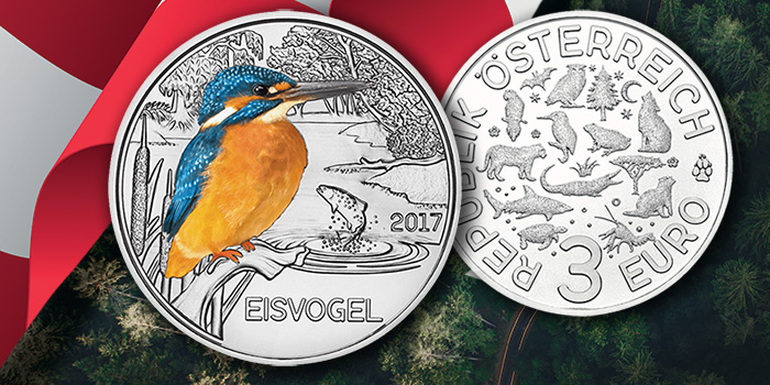 Austrian Mint - 2017 3 Euro Kingfisher Colorful Creatures Commemorative Coin